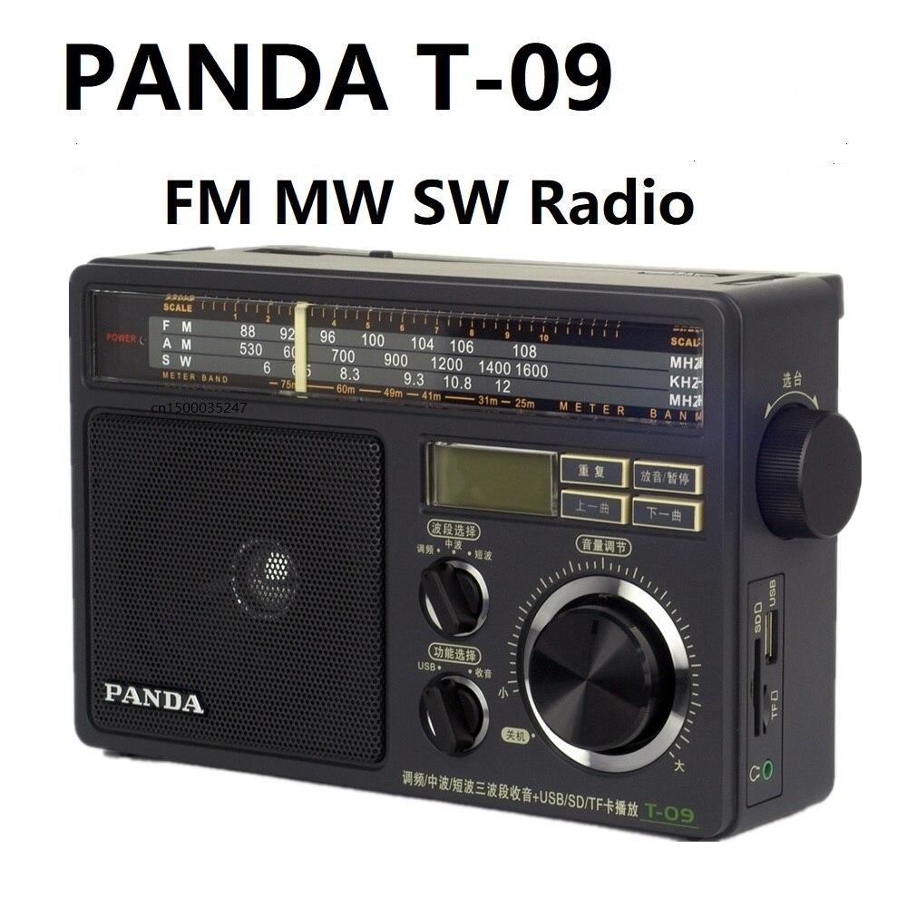 Rádio de Ondas Panda Rádio sw u Disco – tf Cartão Mp3 Player Curtas Médias Três Banda T-09 fm mw