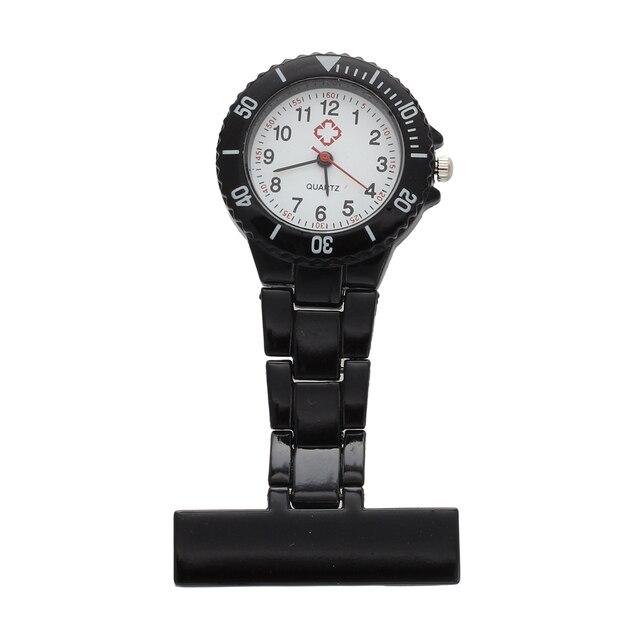 Practical Black Quartz Movement Nurse Brooch Fob Tunic Pocket Metal Watch