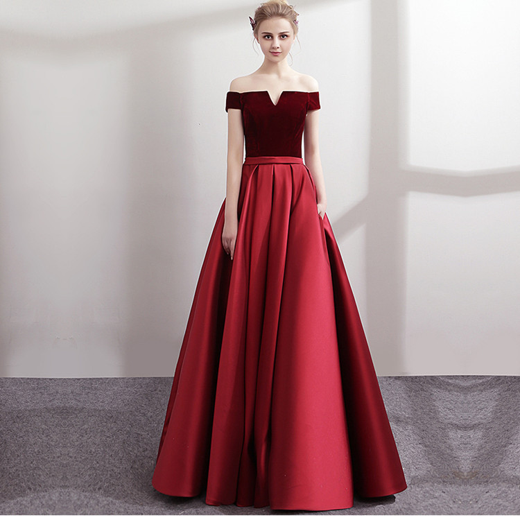 Off Shoulder Evening Dresses Long Satin With Velour Formal Dress With Pocket Lace Up Back Green Red Custom Made 2019 Robe Soiree Durable In Use Weddings & Events