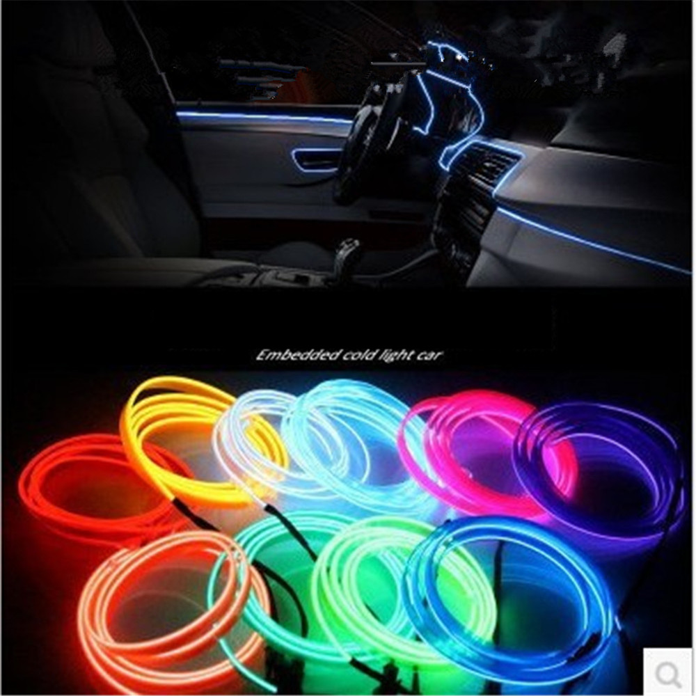1/2/3M Car Interior Light Bmbient Lights El Neon Led Strip Cold Line Decorative Dashboard Lamp 12V Cigarette Lighter Inverter