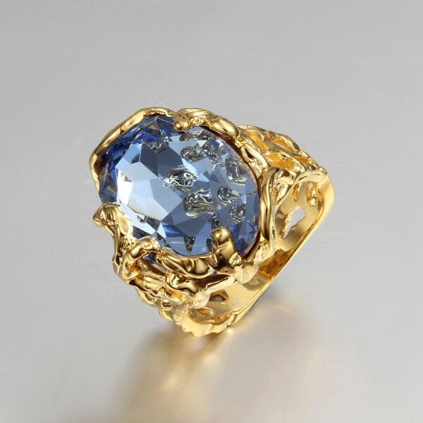 Золотой цвет женские полые подарок кольцо проложили большой синий CZ Циркон дизайн, высокое качество подарок ювелирные изделия палец Свадеб... ...