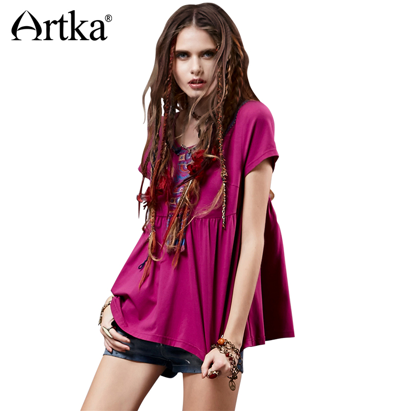 ARTKA Women s Summer New Vintage O neck Short Sleeve Embroidery Loose style Cotton Comfy Tee