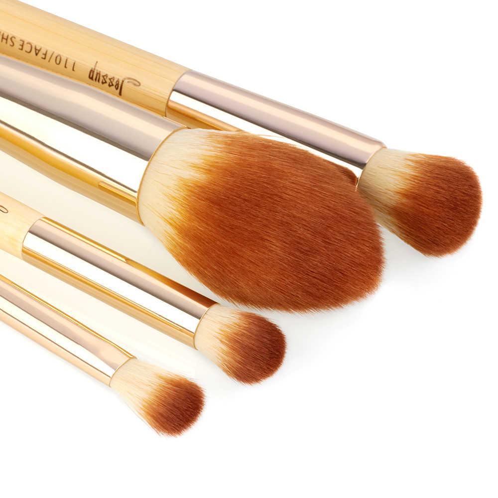 Jessup pędzle 10 sztuk bambusa profesjonalne pędzle do makijażu zestaw pędzelków uroda narzędzie do makijażu zestaw fundacja Powder Definer zakreślacz cieniujący