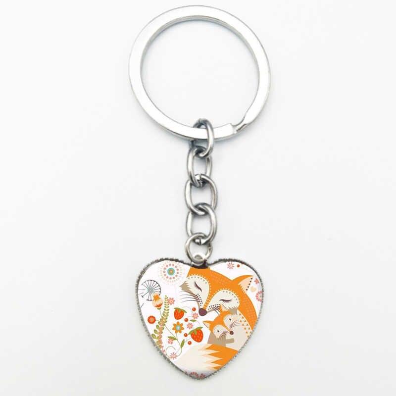 Kawaii Fox Pingente de Coração De Vidro Corrente Chave Bonito Dos Desenhos Animados de Animais Chaveiro Chaveiro Acessórios de Moda Jóias de Prata Dos Homens Das Mulheres