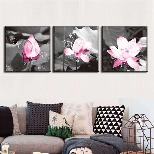 Gorgeous Pink Lotus Black And White Canvas Art Print On Set Of 3 Modern Home