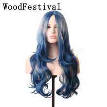 WoodFestival Synthetic Heat Resistant Grey Blue Ombre Wig Long Wavy Cosplay Wigs for Women цены онлайн