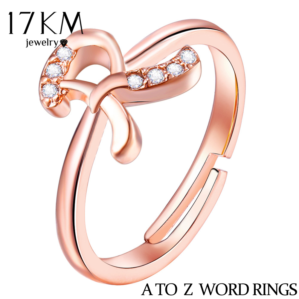 17km A-z Letter Rings For Women Girl 2018 New Fashion Rose Gold Color Crystal Name Word Ring Diy Engagement Wedding Jewelry Gift Excellent (In) Quality