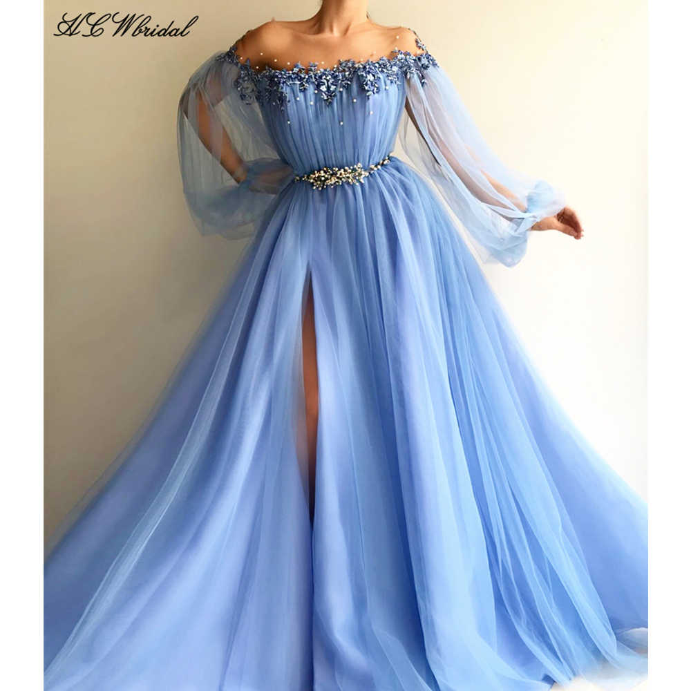 3326f78adb Baby Blue Long Sleeve Evening Dress Exquisite Pearls Lace Tulle High Split  Arabic Prom Gowns 2019