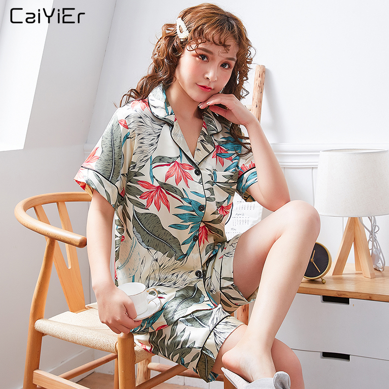 Caiyier 2019 Women Silk   Pajama     Sets   Short Sleeve Sexy Nightwear Soft Sleepwear Flowers Print Pijama Plus Size 4XL 5XL Nightgown