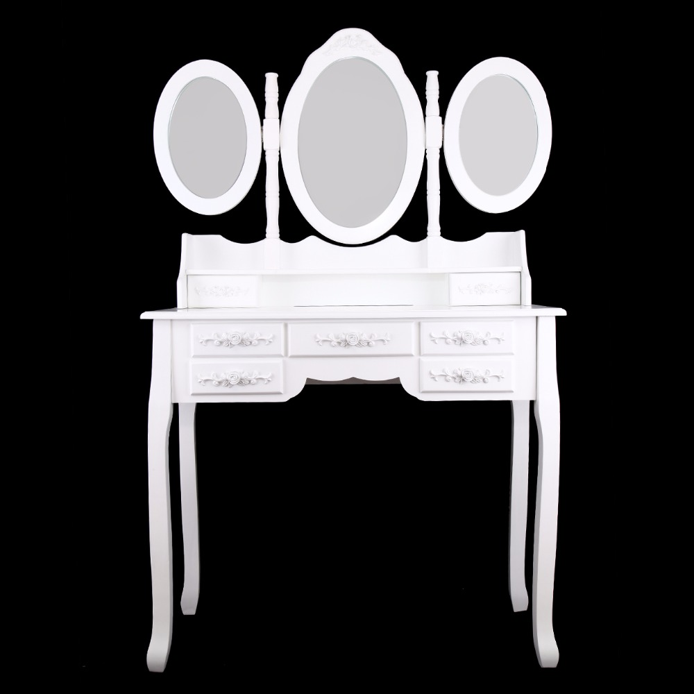 Ship from Germany! Makeup Dressing Table With Stool 7 Drawers Adjustable mirrors bedroom Furniture makeup they do it with mirrors