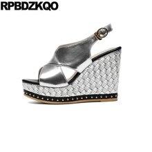 Rivet  Silver Stud Platform Wedge Sandals