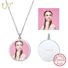 U7 100% 925 Sterling Silver Round Shape Engraved Personalized Custom Photo Pendant Necklace Jewelry Mother's Day Best Gifts SC84 u7 100% 925 sterling silver heart shape engraved personalized custom photo pendant necklace mother s day gifts for lovers sc83