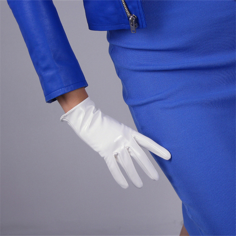 Patent Leather Gloves Short Style Imitation Genuine 21cm Synthetic Woman PU Female Suede P37