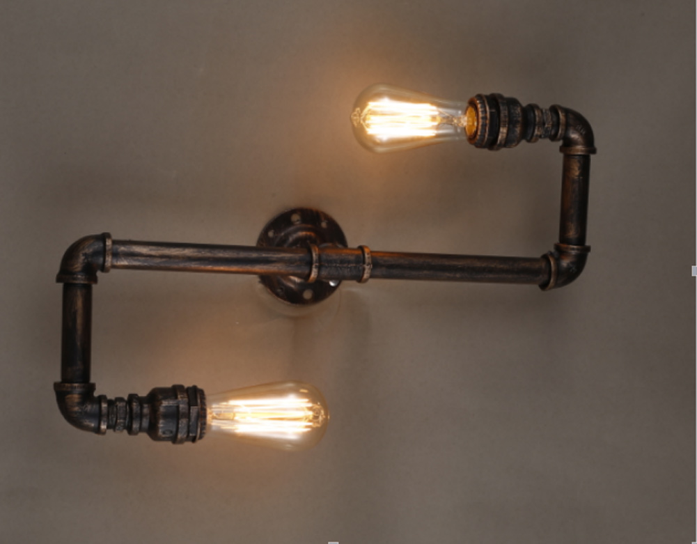 Water Pipe Vintage wall lamp Retro Copper Iron Industrial Loft Wall Sconce light warehouse Beside Lamps