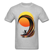 da924fb2ba25 Cool Surfer On Fire Summer Tops & Tees For Adult Custom Short Sleeve Men  Grey T-shirt Cartoon Sea Wave Sunset