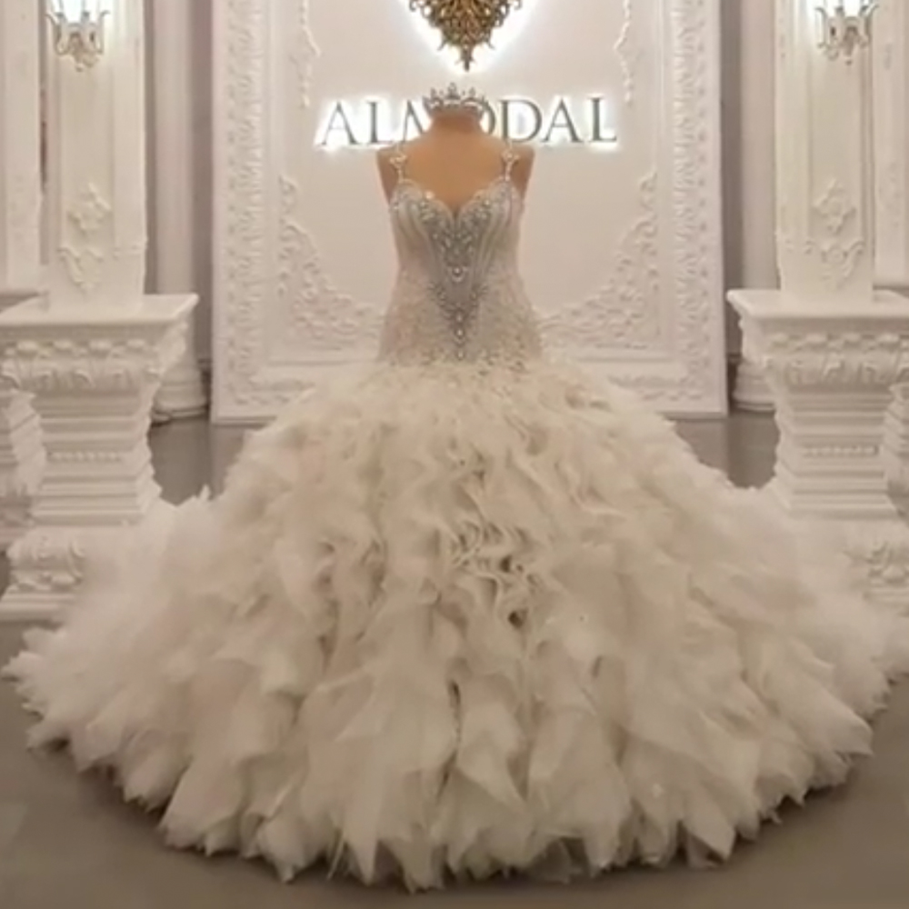 Ball Gown Wedding Dresses Fit And Flare Ruffle Crystal Chapel Train Bridal Dresses Beaded Wedding Gowns Flowers Bridal Dress Wedding Dresses Aliexpress
