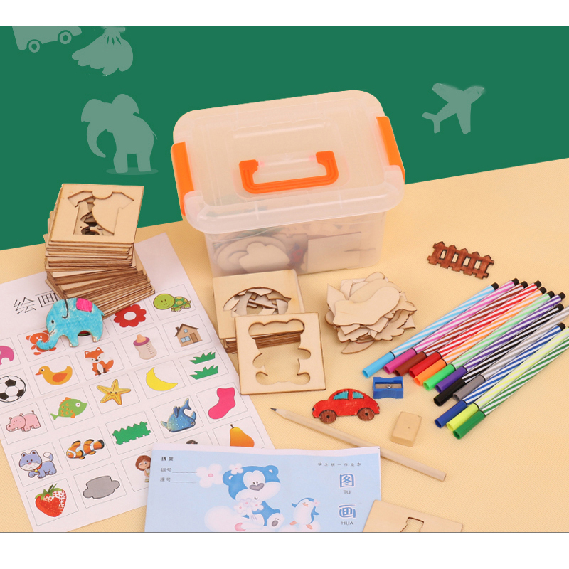 Logwood 100pcs Board School Paint Tools Educational Coloring Book Paint Learning Coloring Board Drawing Board Wooden Drawing Toy