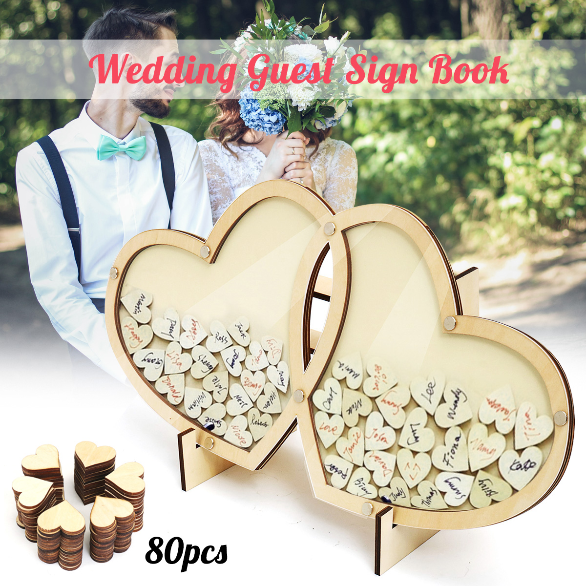 Personalized Hearts Wedding Guest Book Visit Signature Sign Book 3D Wooden Double Heart Pendant Drop Ornaments Party Decoration