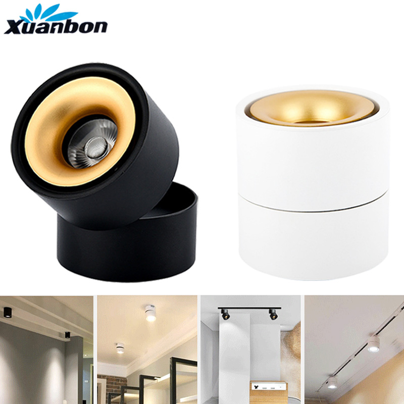4PCS Dimmable Surface Mounted LED COB Downlight 360 Degree Rotating LED Spot Light 9W 12W 15W Ceiling Lamp Track Rail lights triac dimmable 0 10v dimmable dali dimmable 130lm w 50w gimbal downlight 360 degree recessed ceiling led lights 12pcs lot