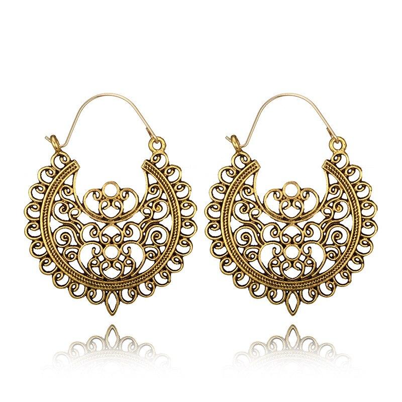 Fou Feng femmes Vintage boucles d'oreilles 2018 ethnique creux fleur gitane boucles d'oreilles indien bijoux Trible boucle d'oreille accessoires 9