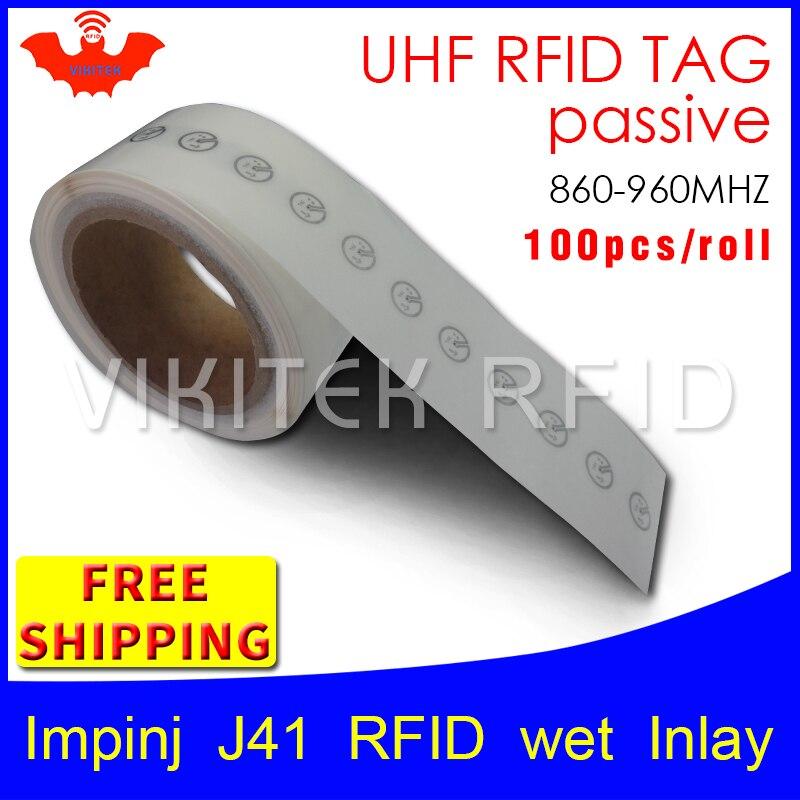 UHF RFID tag EPC 6C sticker Impinj J41 wet inlay 915mhz868mhz860-960MHZ Higgs3 100pcs free shipping adhesive passive RFID label uhf rfid tag epc 6c sticker impinj j41 wet inlay 915mhz868mhz860 960mhz higgs3 100pcs free shipping adhesive passive rfid label