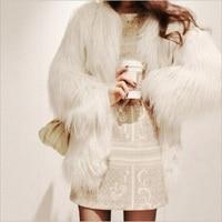 Smfolw Новинка 2017 года Для женщин Мех животных пальто Пушистый толстый теплый белый длинный рукав пальто из искусственного меха волосатые пал...