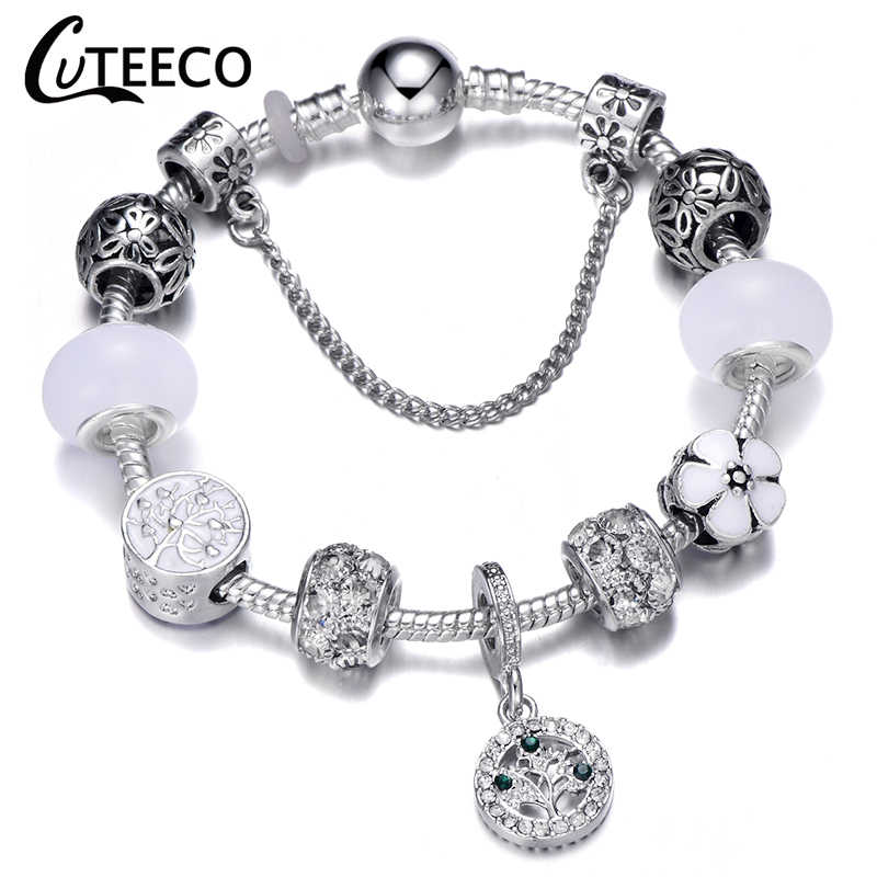 Cuteeco 925 Perak Pesona Gelang Bangle untuk Wanita Kristal Bunga Peri Manik Fit Merek Gelang Perhiasan Pulseras Mujer