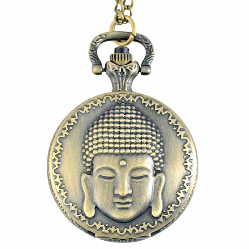 Retro Vintage Bronze Buddha Pocket Watch Vedhæng Mænd ure med - Lommeur - Foto 2