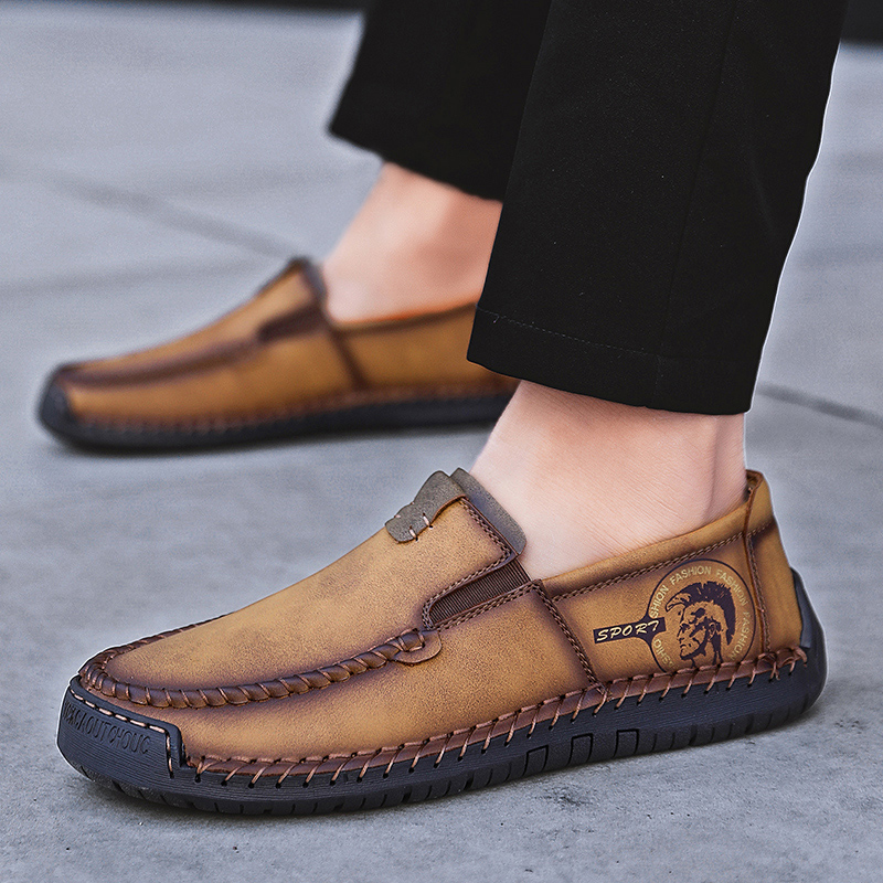 Men Shoes Moccasins Loafers Handmade Vintage Big-Size Flats Spring 38-48 Hot-Sale New-Fashion-Style