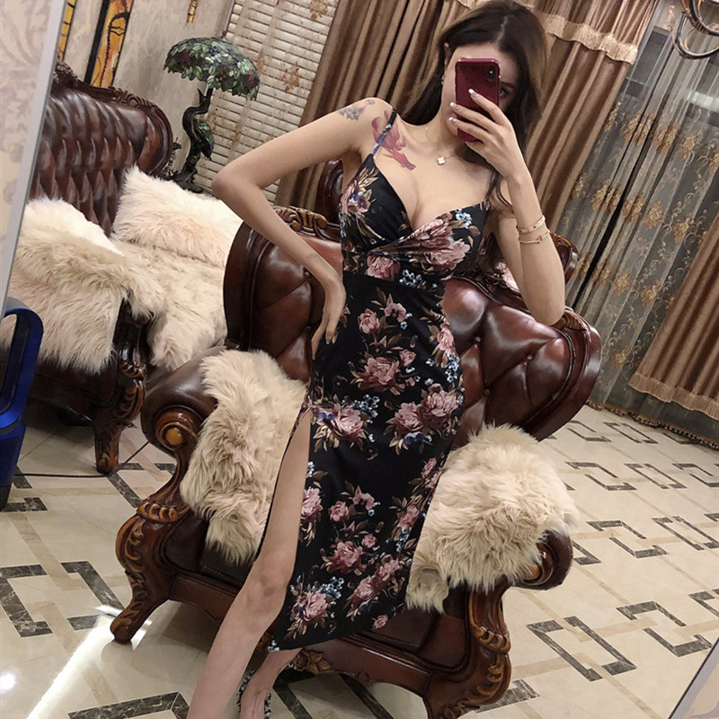 3138479d23aa2 Real shot temperament fashion casual dress 2018 new sexy low cut ...