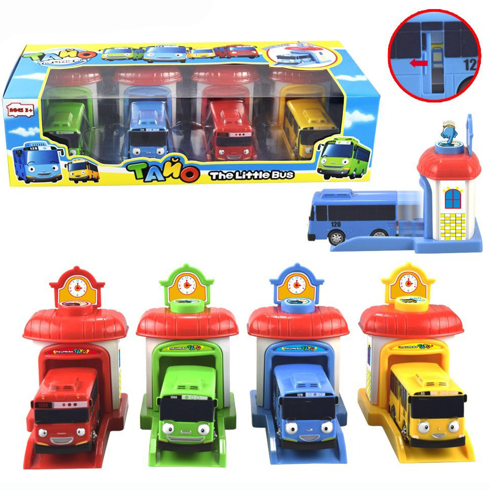 [Funny] 4pcs/set Scale Model Tayo The Little Bus Children Miniature Bus Baby Oyuncak Garage Tayo Bus Ejection Impact Car Vehicle