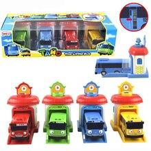 [Забавный] 4 шт./компл. Весы Модель тайо маленький автобус детей миниатюрный ребенка oyuncak гараж автобус тайо выброс влияние автомобиль