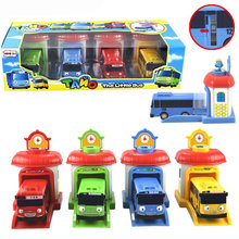 [Funny] 4pcs/set Scale model Tayo the little bus children miniature bus baby oyuncak garage tayo bus Ejection impact car vehicle(China)
