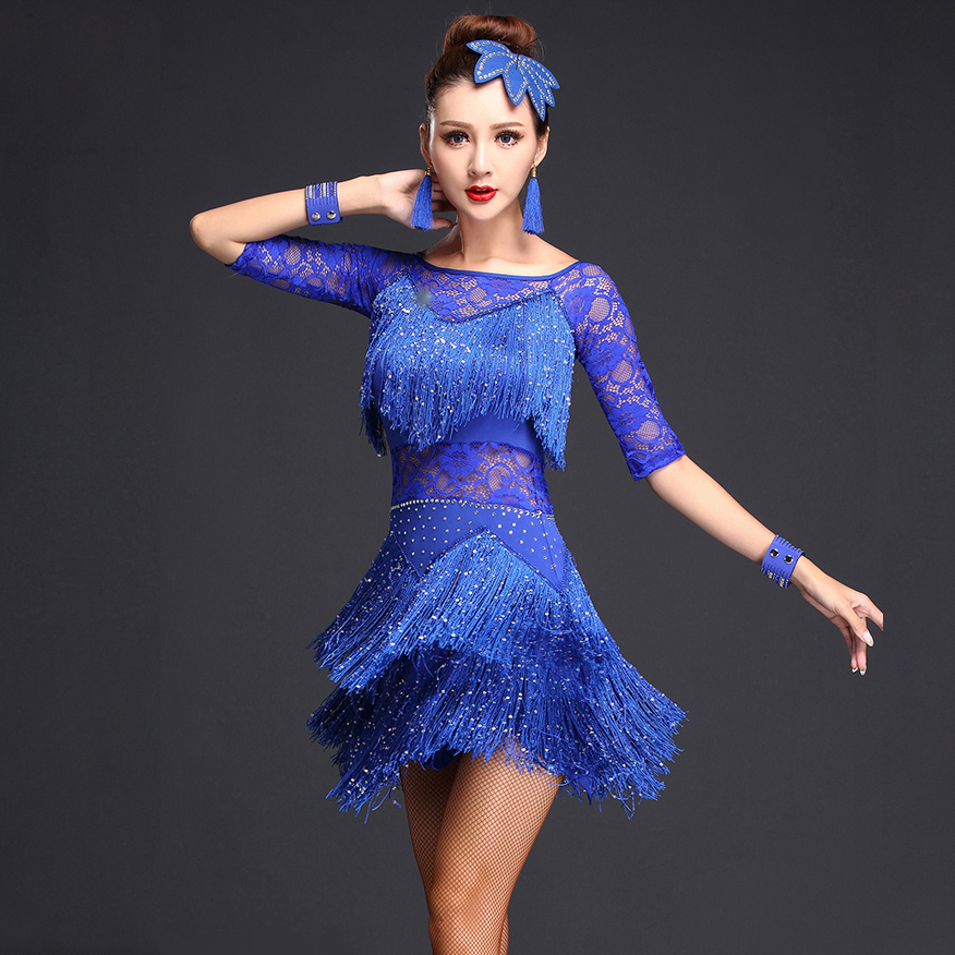 Women Competition Dance Clothes Sequins Costume Set Half Sleeves Fringe Salsa Dresses Ballroom Ladies Latin Dress