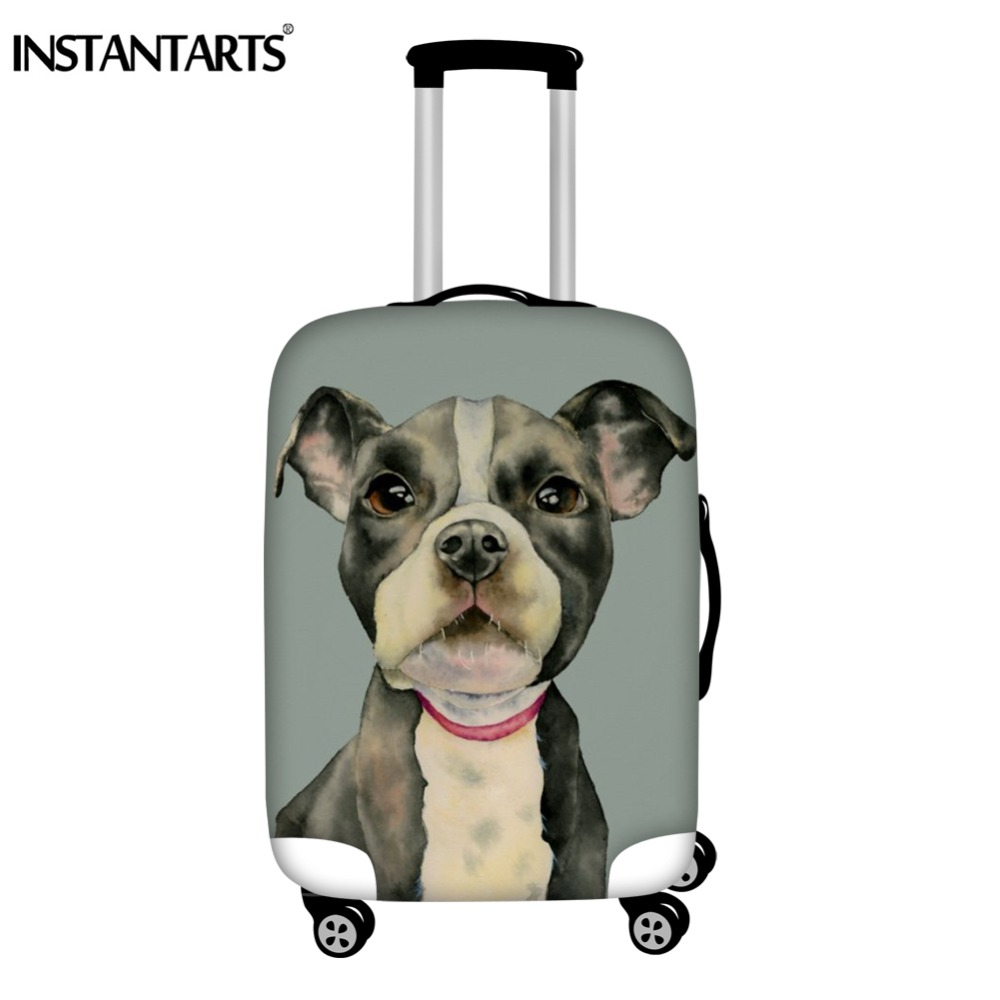 INSTANTARTS Luggage Protective Color Pit Bull Terrier Puppy Dog Watercolor Art Print Thick Dust Rain Travel Suitcase Covers Girl