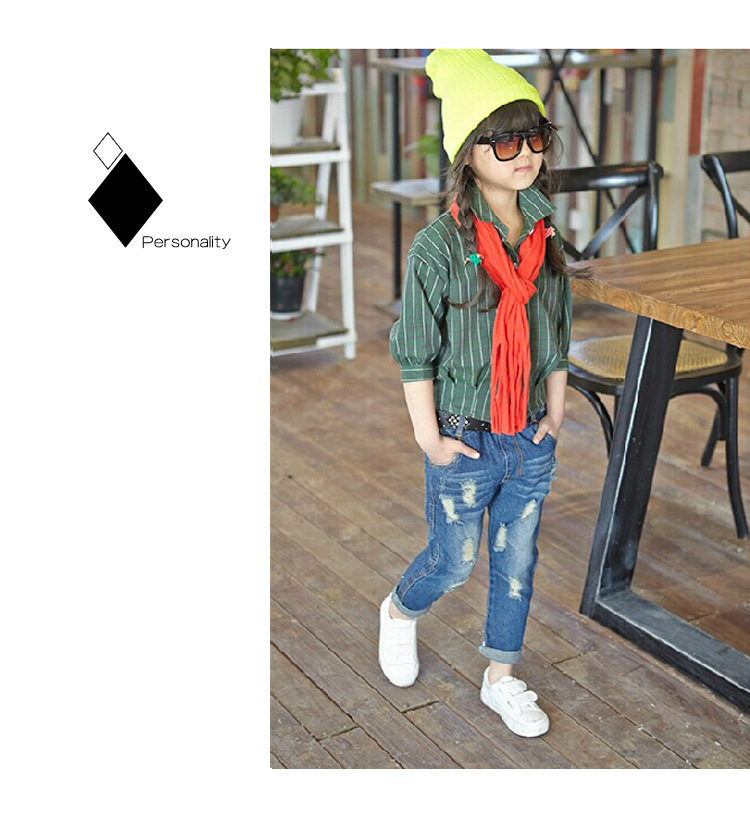 Girls 39 pants 2019 new spring and autumn children 39 s jeans hole children 39 s jeans trousers baby pants 2 4 6 8 years in Pants from Mother amp Kids