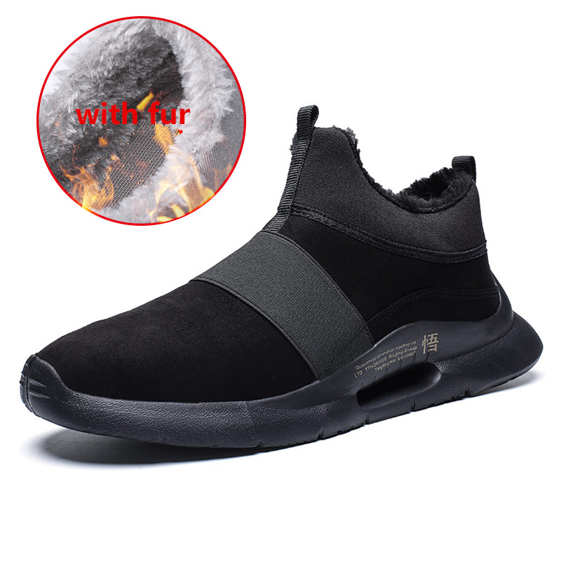 Warm Winter Mens Casual PU Leather Shoes with fur Low-Cut Large Size 39-47 Slip on Comfortable Men Shoes with Short Plush Red 1