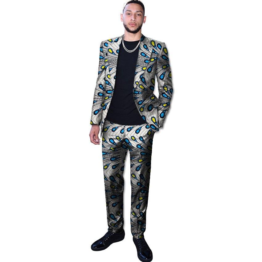 Blazer homme imprimé africain avec ensemble pantalon dashiki homme tenues sur mesure Ankara pantalon costumes hommes tenues de mariage