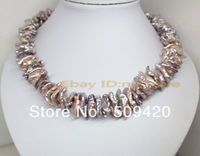 Free Shipping>>> 18long Excellent natural lilac baroque Biwa pearl gem necklace