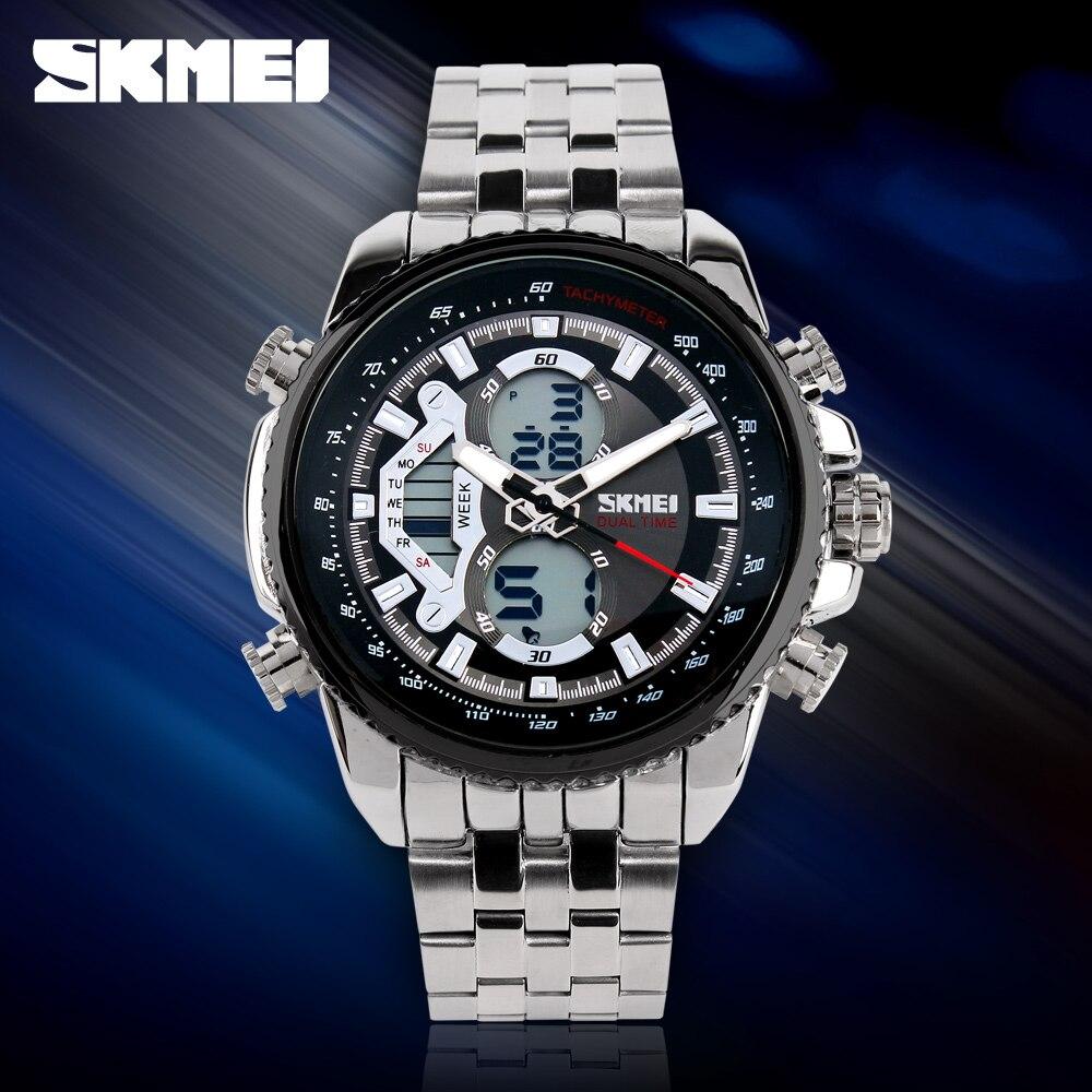 SKMEI נירוסטה Quratz שעוני יד גברים של למעלה מותג יוקרה עסקים שעונים תצוגה כפולה ספורט דיגיטלי שעון Reloj Hombre