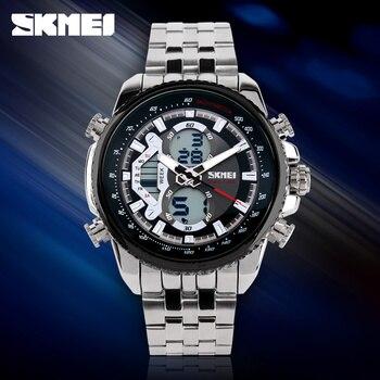 SKMEI Stainless Steel Quratz Wristwatches Men's Top Brand Luxury Business Watches Dual Display Sports Digital Watch Reloj Hombre