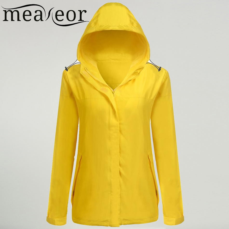 Meaneor 2017 New Women Autumn Jacket Coat Waterproof Hooded Long Sleeve Solid Roam Rain  ...