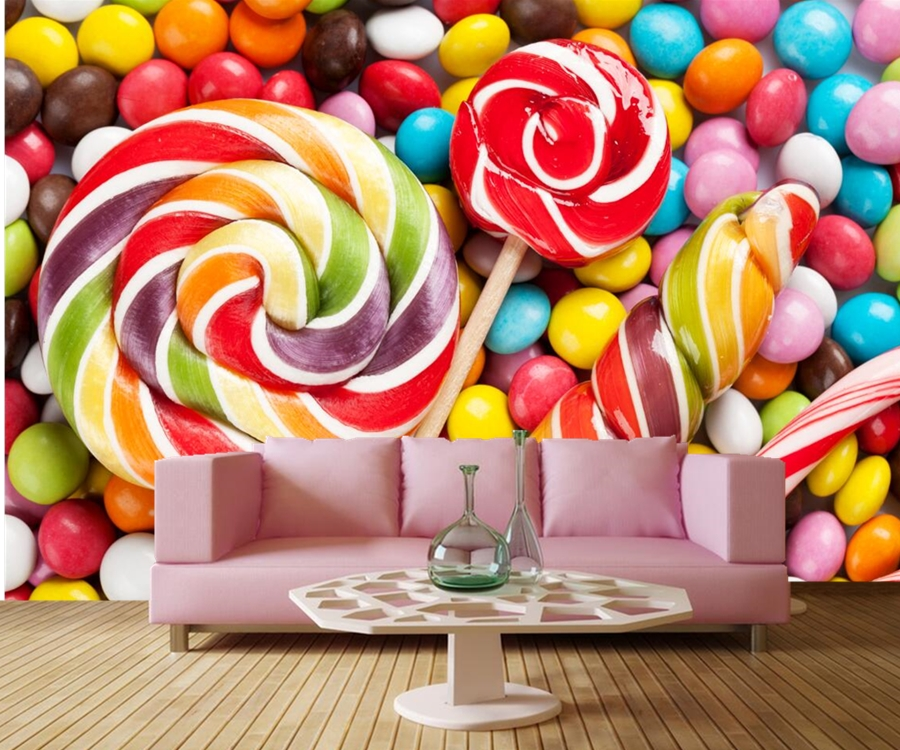 Papel de parede ,Sweets Candy Food wallpapers,coffee shop dining room living room sofa TV wall kitchen 3d wallpaper mural недорого