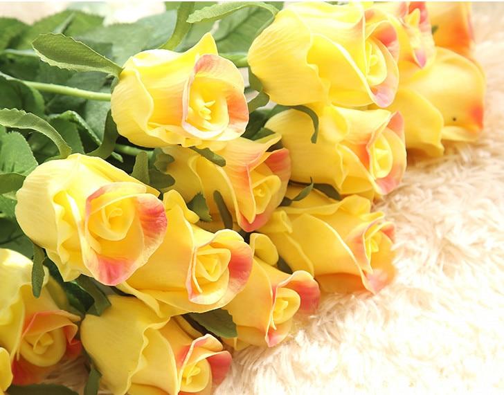 1 unid Latex Real Touch Rosa Flores Artificiales Flores de Seda de flores Ramo D