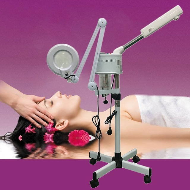 Facial steamer with magnifying lamp