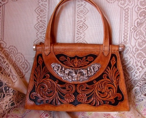 All Handmade Leather Carving 99 Fine Silver Haute Couture Luxury Goods Handbags Free Shipping