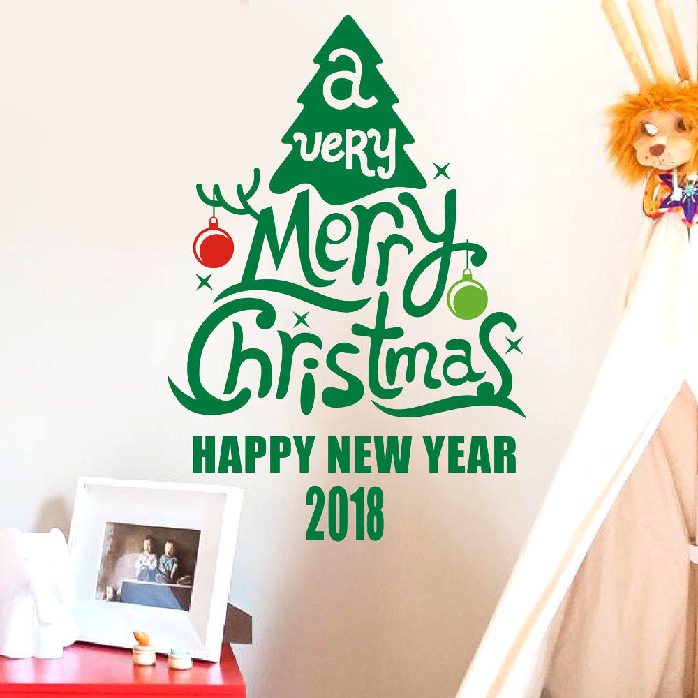 New year 2018 merry christmas letters wall sticker shop for Living room 6 letters