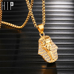 HIP Hop Bling Iced Out Crystal Egyptian Pharaoh Pendants & Necklaces for Men Jewelry Gold Titanium Stainless Steel Dropshipping