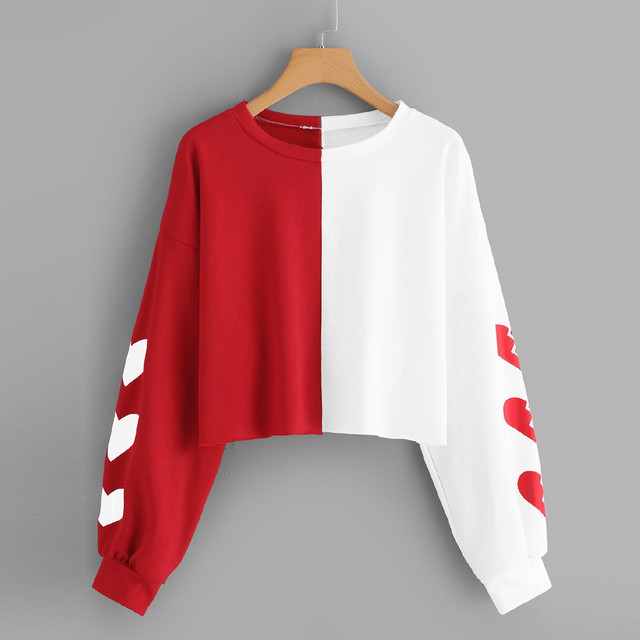 Harajuku Hoodies Sweatshirt Women 2018 Autumn Streetwear Heart Color Block Crop Top Hoodie Women Fashion Clothes Moletom