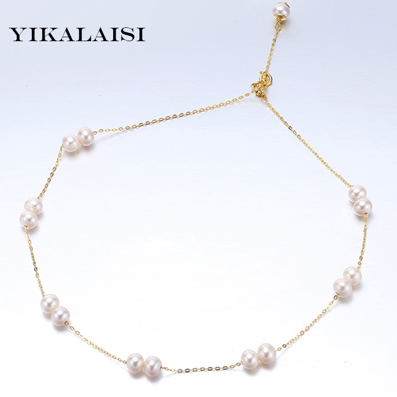 цены YIKALAISI 2017 100% natural real Pearl choker necklace 6-7mm pearl jewelry 925 sterling silver best gift for Women girls